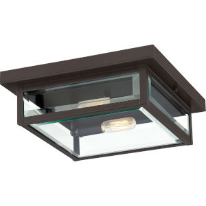 Westover Western Bronze 12-Inch Two-Light Outdoor Flush Mount with Glass