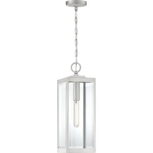 Westover Stainless Steel 7-Inch One-Light Outdoor Hanging Lantern with Clear Beveled Glass