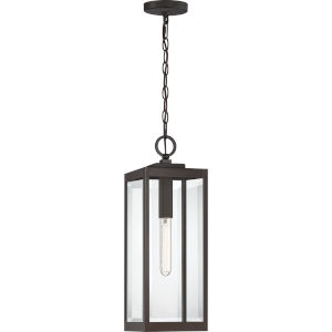 Westover Western Bronze 7-Inch One-Light Outdoor Hanging Lantern with Clear Beveled Glass