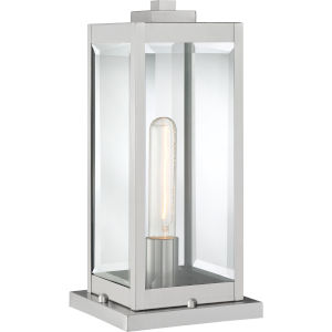 Westover Stainless Steel One-Light Outdoor Pier Base with Transparent Beveled Glass