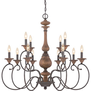 Auburn Rustic Black Twelve-Light Chandelier