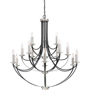 Alana Mystic Black 41-Inch Fifteen-Light Chandelier