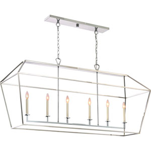 Aviary Polished Nickel 54-Inch Six-Light Island Pendant
