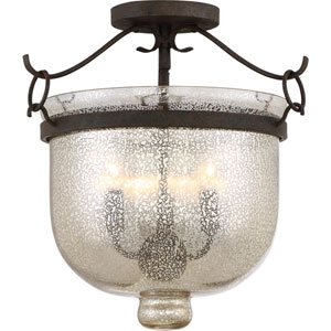 Burgess Rustic Black Three-Light Semi Flush Mount