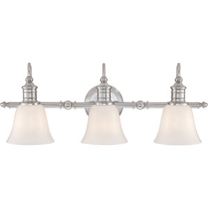 Broad gate Brushed Nickel 10-Inch Three-Light Bath Fixture