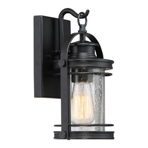 Booker Mystic Black 7-Inch One-Light Outdoor Wall Lantern