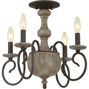 Castile Rustic Black 18-Inch Four-Light Semi Flush Mount
