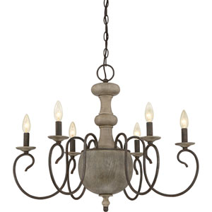 Castile Rustic Black 29-Inch Six-Light Chandelier
