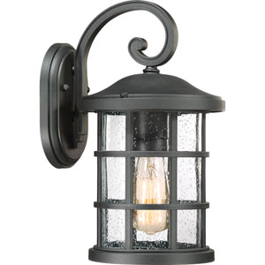 Crusade Earth Black 8-Inch One-Light Outdoor Wall Lantern