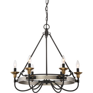 Castle Hill Antique Nickel Six-Light Chandelier