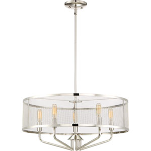 Cityscape Polished Nickel 22-Inch Five-Light Pendant