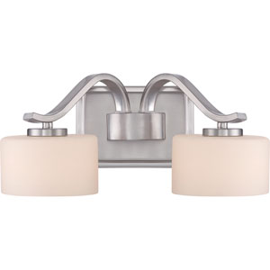 Devlin Brushed Nickel Two-Light LED Vanity with Opal Glass Shade