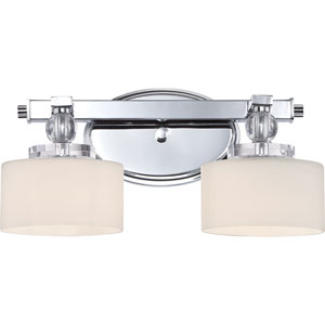 Downtown Polished Chrome Two-Light LED Vanity with Opal Etched Glass Shade