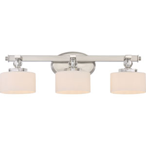 Downtown Brushed Nickel Three-Light LED Vanity with Opal Etched Glass Shade