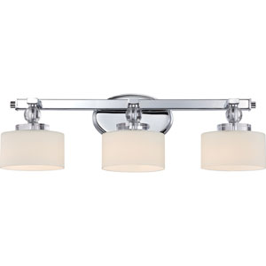 Downtown Polished Chrome Three-Light LED Vanity with Opal Etched Glass Shade