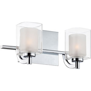 Kolt Polished Chrome Two-Light LED Vanity with Outer Clear Glass