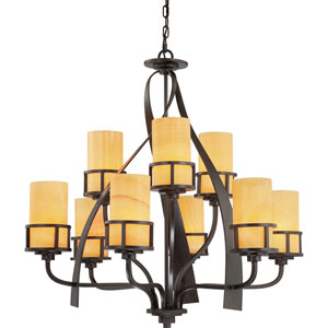 Kyle Imperial Bronze Nine-Light Chandelier