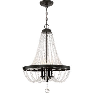 Livery Western Bronze 21-Inch Four-Light Chandelier