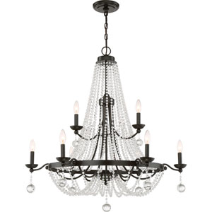 Livery Western Bronze 36-Inch Nine-Light Chandelier
