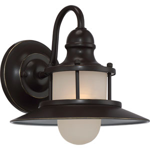 New England Palladian Bronze 9.5-Inch One-Light Outdoor Wall Lantern