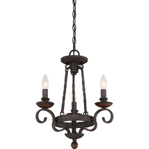 Noble Rustic Black Three-Light Chandelier