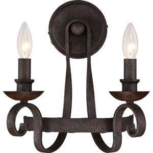 Noble Rustic Black Two-Light Wall Sconce