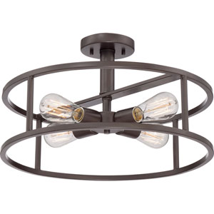New Harbor Western Bronze Four Light Semi-Flush Mount