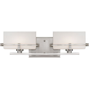 Nolan Brushed Nickel Two-Light LED Vanity with Opal Etched Glass