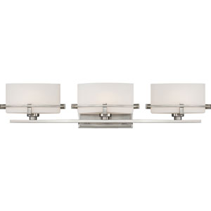 Nolan Brushed Nickel Three-Light LED Vanity with Opal Etched Glass