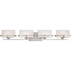 Nolan Brushed Nickel Four-Light LED Vanity with Opal Etched Glass