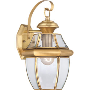 Newbury Polished Brass 14-Inch Outdoor Wall Lantern