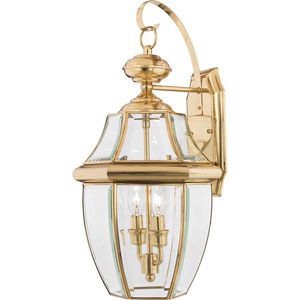Newbury Polished Brass 20-Inch Outdoor Wall Lantern