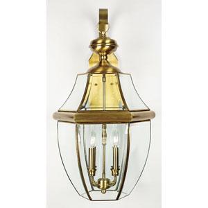 Newbury Antique Brass Four-Light Outdoor Wall Lantern