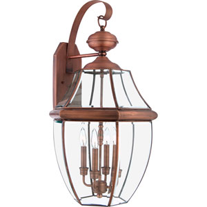 Newbury Copper Four-Light Outdoor Wall Lantern