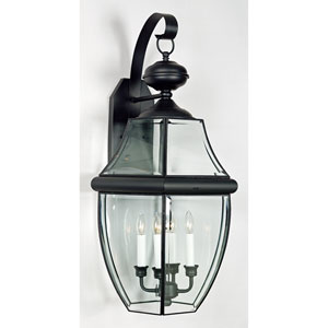Newbury Black Four-Light Outdoor Wall Lantern