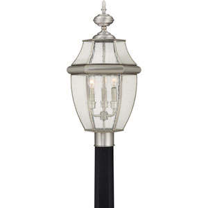 Newbury Pewter 12-Inch Three-Light Outdoor Post Mount