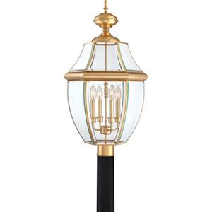 Newbury Large Polished Brass Outdoor Post Mount Lantern