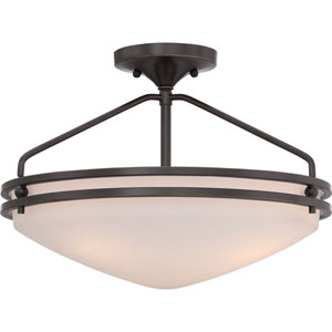 Ozark Palladian Bronze 12-Inch Height Three-Light Close to Ceiling