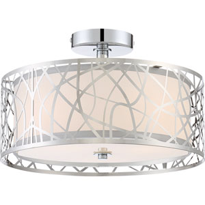 Platinum Collection Abode Polished Chrome Three-Light Semi Flush Mount