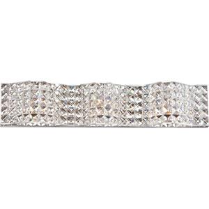 Platinum Collection Alexa Polished Chrome Three-Light LED Vanity with Crystal Shade