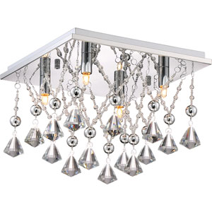 Platinum Collection Crystal Drape Polished Chrome 13-Inch Four-Light Flush Mount