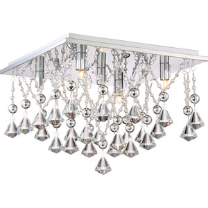 Platinum Collection Crystal Drape Polished Chrome 15-Inch Five-Light Flush Mount