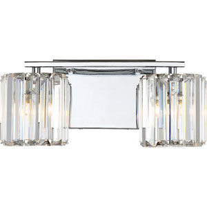Platinum Collection Divine Polished Chrome Two-Light LED Vanity with Clear Cristal Shade