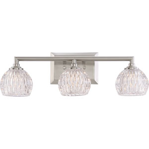 Platinum Collection Serena Brushed Nickel Three-Light LED Vanity with Clear Glass Shade