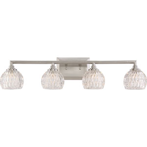 Platinum Collection Serena Brushed Nickel Four-Light LED Vanity with Clear Glass Shade