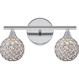 Platinum Collection Shimmer Polished Chrome Two-Light LED Vanity with Crystal Studded Shade