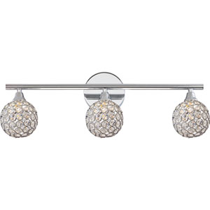 Platinum Collection Shimmer Polished Chrome Three-Light LED Vanity with Crystal Studded Shade