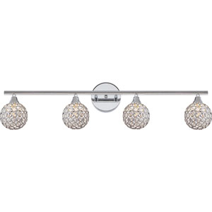 Platinum Collection Shimmer Polished Chrome Four-Light LED Vanity with Crystal Studded Shade