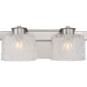 Platinum Collection Seaview Brushed Nickel Two-Light LED Vanity with Clear Glass Outside