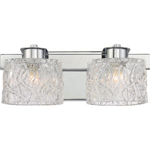 Platinum Collection Seaview Polished Chrome Two-Light LED Vanity with Clear Glass Shade